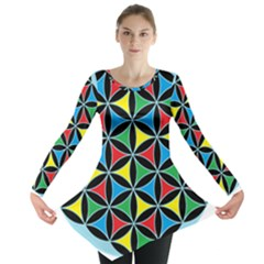 Flower Of Life 4 Color Triangles Long Sleeve Tunic