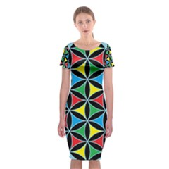 Flower Of Life 4 Color Triangles Classic Short Sleeve Midi Dress