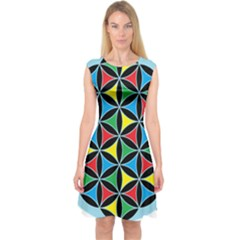 Flower Of Life 4 Color Triangles Capsleeve Midi Dress