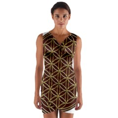 Flower Of Life Wrap Front Bodycon Dress