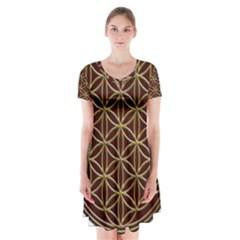 Flower Of Life Short Sleeve V-neck Flare Dress