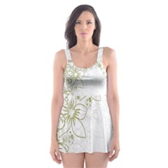 Flowers Background Leaf Leaves Skater Dress Swimsuit