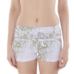 Flowers Background Leaf Leaves Boyleg Bikini Wrap Bottoms