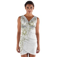Flowers Background Leaf Leaves Wrap Front Bodycon Dress