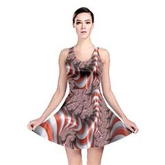 Fractal Abstract Red White Stripes Reversible Skater Dress