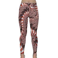 Fractal Abstract Red White Stripes Yoga Leggings