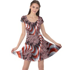 Fractal Abstract Red White Stripes Cap Sleeve Dresses