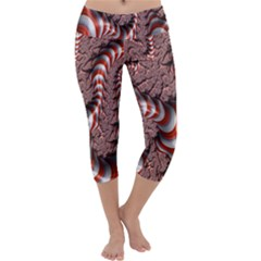 Fractal Abstract Red White Stripes Capri Yoga Leggings