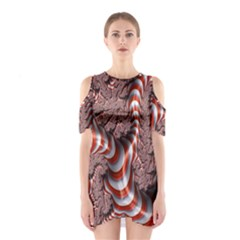 Fractal Abstract Red White Stripes Cutout Shoulder Dress