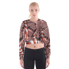 Fractal Abstract Red White Stripes Women s Cropped Sweatshirt