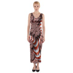 Fractal Abstract Red White Stripes Fitted Maxi Dress