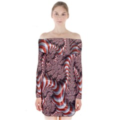 Fractal Abstract Red White Stripes Long Sleeve Off Shoulder Dress