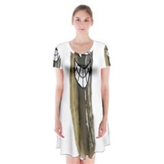 Pickleman1 Short Sleeve V-neck Flare Dress