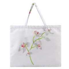 Isolated Orquideas Blossom Zipper Large Tote Bag