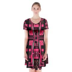 Hnhnhnhnhnhnhn Short Sleeve V Neck Flare Dress