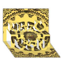 Gears Miss You 3D Greeting Card (7x5)