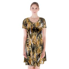 Honey Bee Water Buckfast Short Sleeve V-neck Flare Dress