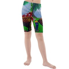 Kindergarten Painting Wall Colorful Kids  Mid Length Swim Shorts