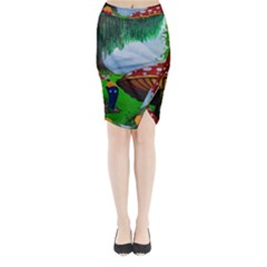 Kindergarten Painting Wall Colorful Midi Wrap Pencil Skirt