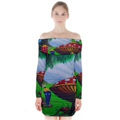 Kindergarten Painting Wall Colorful Long Sleeve Off Shoulder Dress
