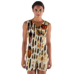 Insect Collection Wrap Front Bodycon Dress