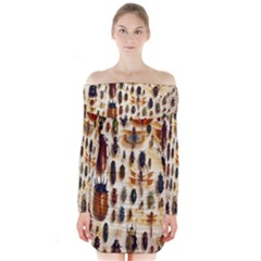 Insect Collection Long Sleeve Off Shoulder Dress