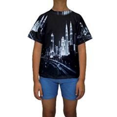 Kuala Lumpur Urban Night Building Kids  Short Sleeve Swimwear