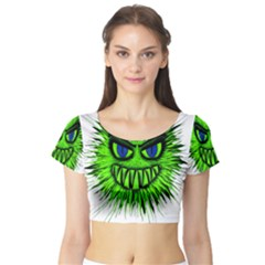 Monster Green Evil Common Short Sleeve Crop Top (Tight Fit)