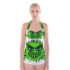 Monster Green Evil Common Boyleg Halter Swimsuit