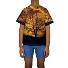 Moon Tree Silhouette Kids  Short Sleeve Swimwear