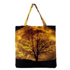 Moon Tree Silhouette Grocery Tote Bag