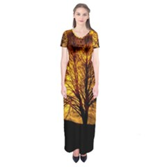 Moon Tree Silhouette Short Sleeve Maxi Dress