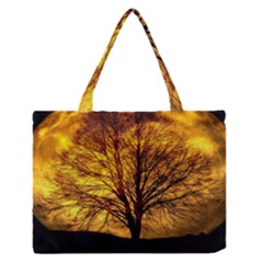 Moon Tree Silhouette Medium Zipper Tote Bag