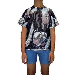 Motorcycle Chrome Technology Kids  Short Sleeve Swimwear