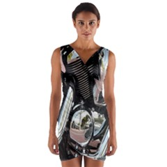 Motorcycle Chrome Technology Wrap Front Bodycon Dress