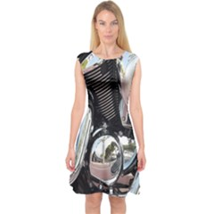 Motorcycle Chrome Technology Capsleeve Midi Dress