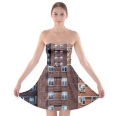 New York Building Windows Manhattan Strapless Bra Top Dress