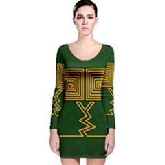 One Stroke Owl Long Sleeve Velvet Bodycon Dress