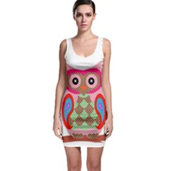 Owl Colorful Patchwork Art Sleeveless Bodycon Dress