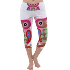 Owl Colorful Patchwork Art Capri Yoga Leggings