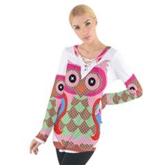 Owl Colorful Patchwork Art Women s Tie Up Tee