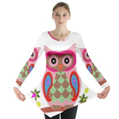 Owl Colorful Patchwork Art Long Sleeve Tunic