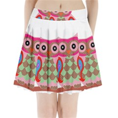 Owl Colorful Patchwork Art Pleated Mini Skirt