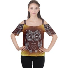 Owl Abstract Funny Pattern Women s Cutout Shoulder Tee
