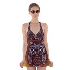 Owl Abstract Funny Pattern Halter Swimsuit Dress