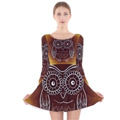 Owl Abstract Funny Pattern Long Sleeve Velvet Skater Dress