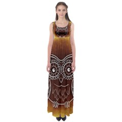 Owl Abstract Funny Pattern Empire Waist Maxi Dress