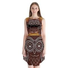 Owl Abstract Funny Pattern Sleeveless Chiffon Dress