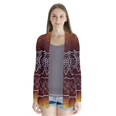 Owl Abstract Funny Pattern Drape Collar Cardigan