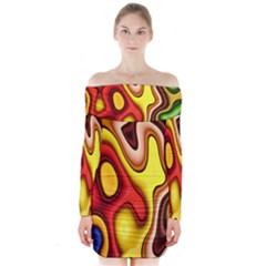 Pattern Background Structure Long Sleeve Off Shoulder Dress